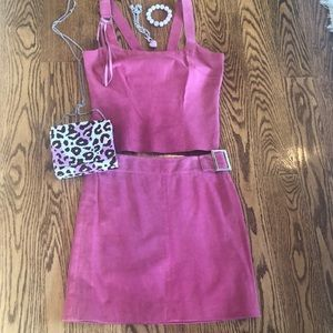 Worth 2 Piece Suede Top and Skirt